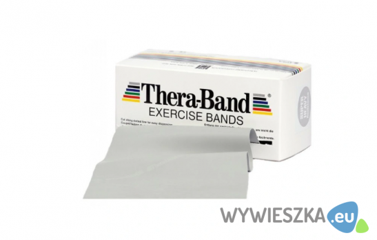 Taśma reh 2,5m Thera Band srebrna + zestaw ćwiczeń