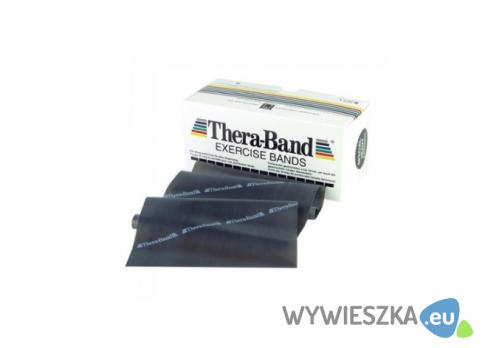 Taśma reh 2,5m Thera Band czarna + zestaw ćwiczeń